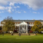View of McKeldin Library from the Mall with blue sky and clouds.